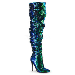 """Shoes - 5"""" High Heel Over-the-Knee Boots Ruched Sequins"""